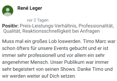 Empfehlung Zauberer Timo Marc