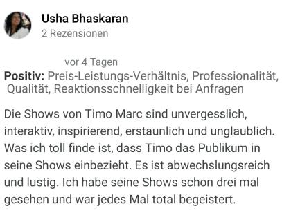 Empfehlung Timo Marc Magier und Entertainer